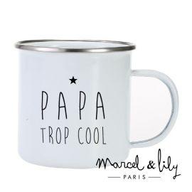 """Tasse émaillée """" Papa trop..."""