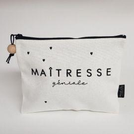 "Trousse brodée ""Maîtresse"""