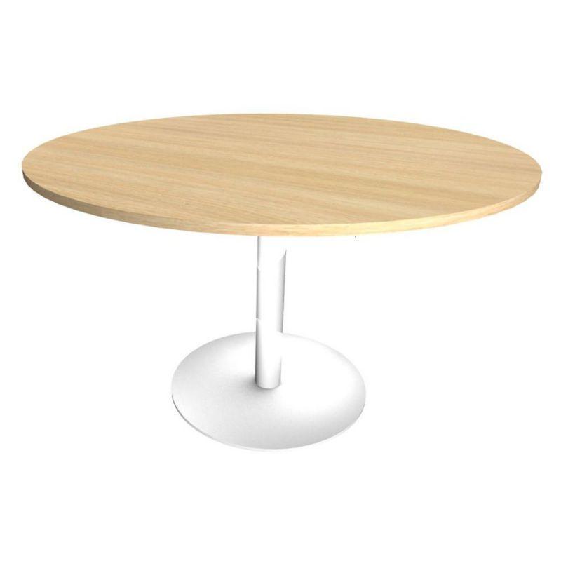 Table Ronde 6 Personnes.Table Ronde Initial Diametre 120 Cm Plateau Chene Clair Pied Central Metal Blanc