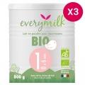 Lait infantile Bio everymilk 1 de 0 à 6 mois - lot de 3 boîtes