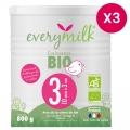 Lait infantile Bio everymilk 3 croissance de 10 mois à 3 ans - lot de 3 boîtes