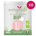 Lait infantile Bio everymilk 1 de 0 à 6 mois - lot de 6 boîtes