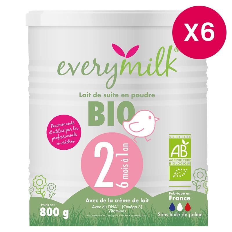 Lait infantile Bio everymilk 2 de 6 mois à 1 an - lot de 6 boîtes