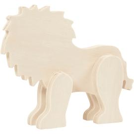 Figurine Lion en bois à...